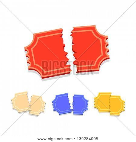 Torn Ticket icon set in flat style for retro cinema or movie poster