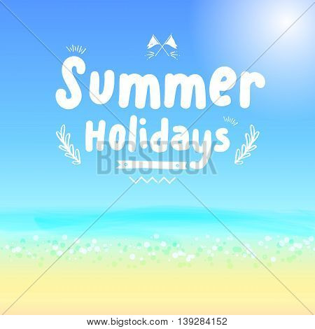 Vector : Summer Holidays Logo On Blue Sea Background, Vacation Concept