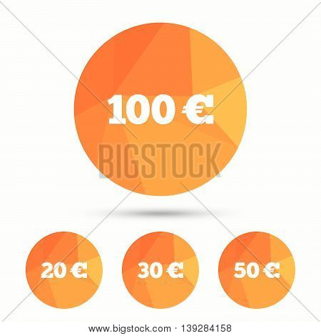 Money in Euro icons. 100, 20, 30 and 50 EUR symbols. Money signs Triangular low poly buttons with shadow. Vector