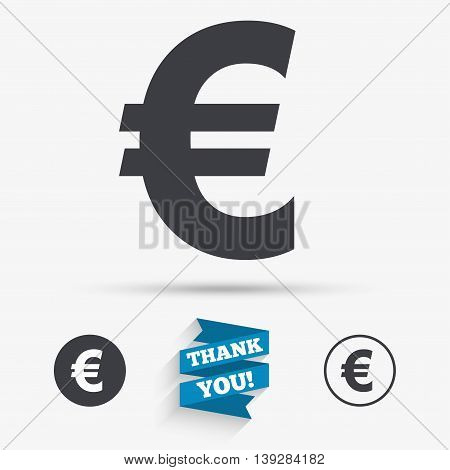 Euro sign icon. EUR currency symbol. Money label. Flat icons. Buttons with icons. Thank you ribbon. Vector