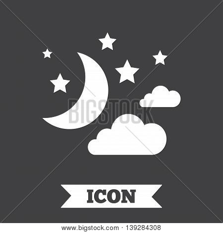 Moon, clouds and stars icon. Sleep dreams symbol. Night or bed time sign. Graphic design element. Flat moon symbol on dark background. Vector