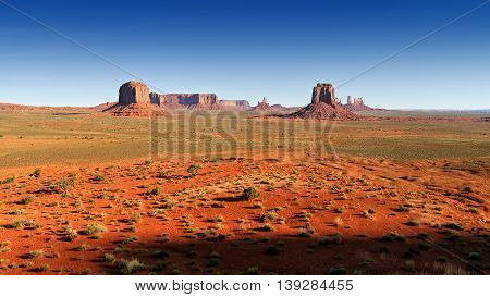 Monument Valley in the morning red light. Arizona, USA