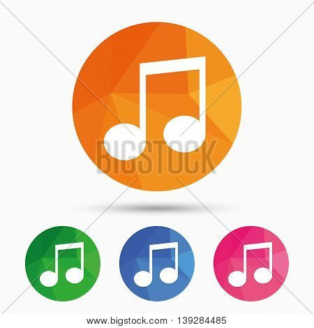 Music note sign icon. Musical symbol. Triangular low poly button with flat icon. Vector