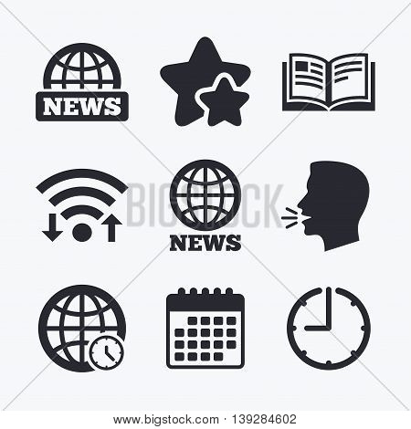 News icons. World globe symbols. Open book sign. Education literature. Wifi internet, favorite stars, calendar and clock. Talking head. Vector