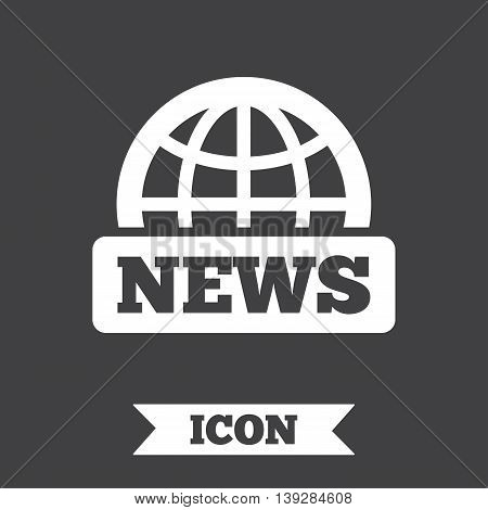 News sign icon. World globe symbol. Graphic design element. Flat news symbol on dark background. Vector