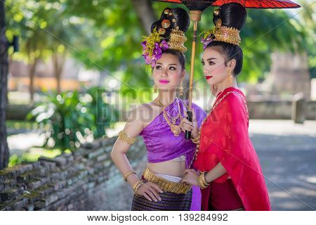 Thailand Lanna Women Dress .thai Woman Dressing Traditional. Wearing On Important Day, New Year's Da