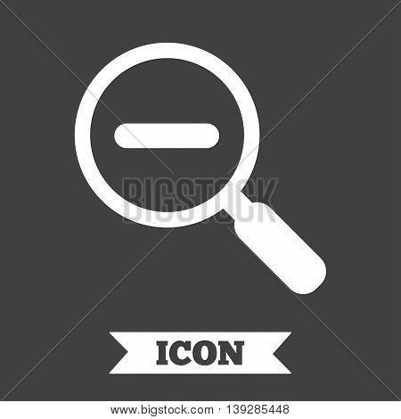 Magnifier glass sign icon. Zoom tool button. Navigation search symbol. Graphic design element. Flat find symbol on dark background. Vector