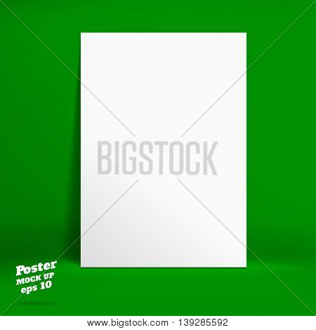 Vector : White Paper Poster In Vivid Dark Green Studio Room, Template Mock Up For Display Of Product