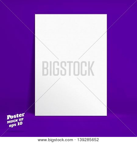 Printvector : White Paper Poster In Vivid Dark Purple Studio Room, Template Mock Up For Display Of P