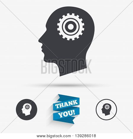 Head with gear sign icon. Male human head symbol. Flat icons. Buttons with icons. Thank you ribbon. Vector
