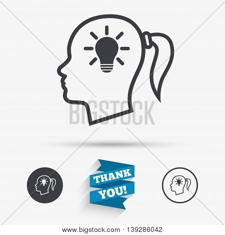 Head with lamp bulb sign icon. Female woman human head idea with pigtail symbol. Flat icons. Buttons with icons. Thank you ribbon. Vector