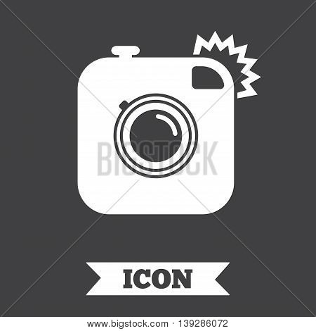 Hipster photo camera sign icon. Retro camera with flash symbol. Graphic design element. Flat retro camera symbol on dark background. Vector