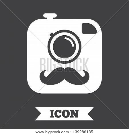 Hipster photo camera with mustache sign icon. Retro camera symbol. Graphic design element. Flat hipster camera symbol on dark background. Vector