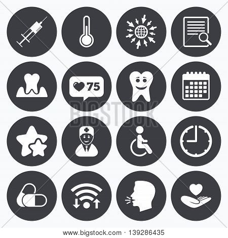 Calendar, wifi and clock symbols. Like counter, stars symbols. Medicine, medical health and diagnosis icons. Capsules, syringe and doctor signs. Tooth parodontosis, disabled person symbols. Talking head, go to web symbols. Vector
