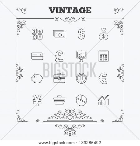 Money and business icons. Cash and cashless money. Usd, eur, gbp and jpy currency exchange. Presentation, calculator and shopping cart symbols. Vintage ornament patterns. Decoration design elements. Vector