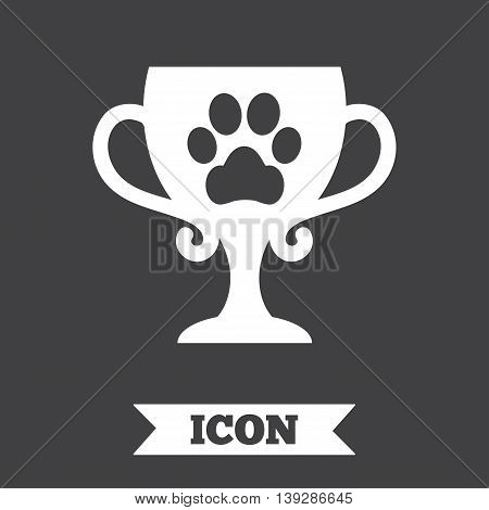 Winner pets cup sign icon. Trophy for pets. Graphic design element. Flat winner pets cup symbol on dark background. Vector