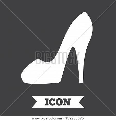 Women sign. Women's shoe icon. High heels shoe symbol. Graphic design element. Flat women shoe symbol on dark background. Vector