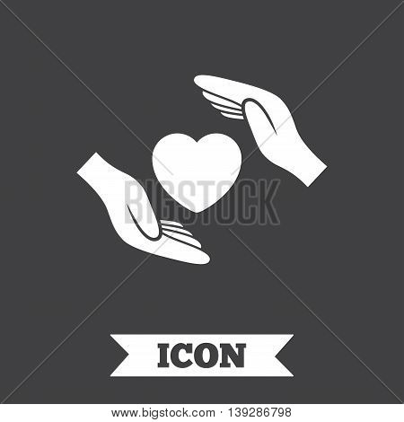 Life insurance sign icon. Hands protect cover heart symbol. Health insurance. Graphic design element. Flat insurance symbol on dark background. Vector