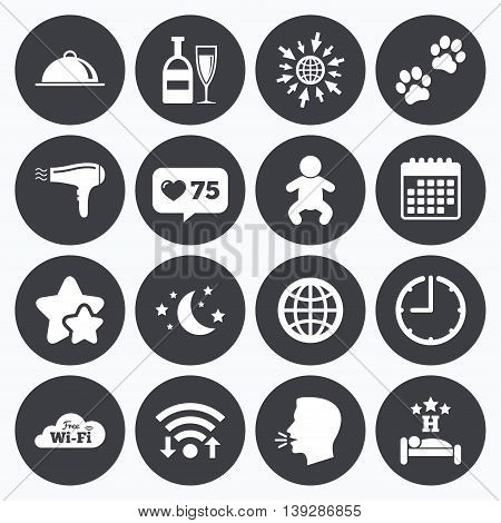 Calendar, wifi and clock symbols. Like counter, stars symbols. Hotel, apartment service icons. Restaurant sign. Alcohol drinks, wi-fi internet and sleep symbols. Talking head, go to web symbols. Vector