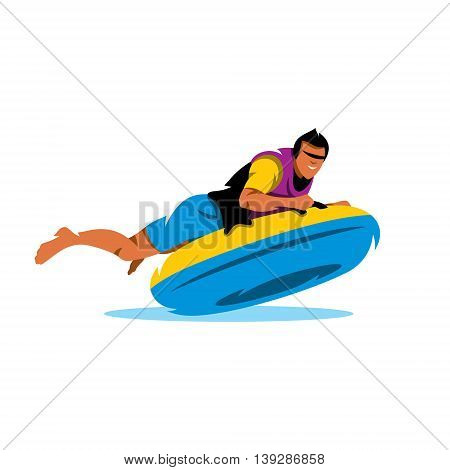 Boy riding on an inflatable tube on the water. Isolated on a white background