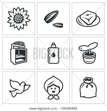 Plant, Husk, Product, Equipment, Bottle, Escape, Bird, Old woman, Bag, vector illustration