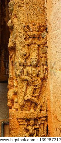Sculptor of Dwarapal standing at entrance of Bhoga Nandeeshwara temple, Chikkaballapur captured on July 16th, 2016