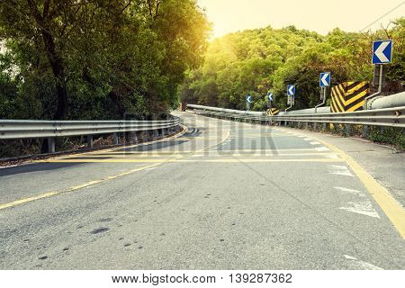 Empty curved road