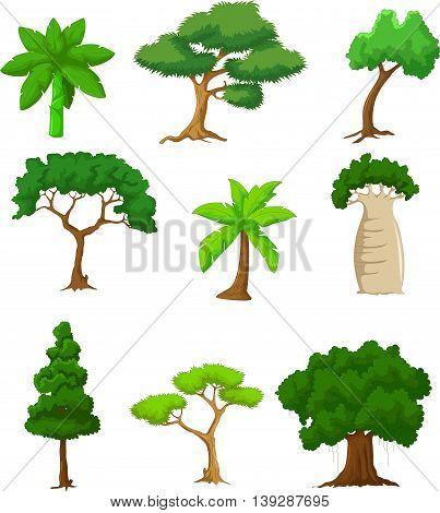 collections of tree cartoon  for you design