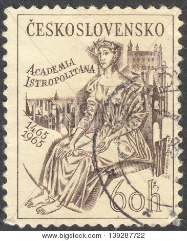 MOSCOW RUSSIA - CIRCA JANUARY 2016: a post stamp printed in CZECHOSLOVAKIA devoted to the 500th Anniversary of Academia Istropolitana Bratislava circa 1965