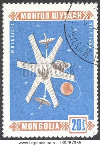 MOSCOW RUSSIA - CIRCA JANUARY 2016: a post stamp printed in MONGOLIA shows a space satellite