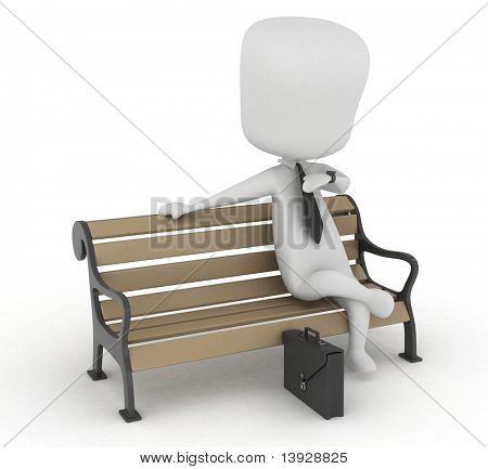 3D Illustration of a Man Sitting on a Bench While Waiting for Something