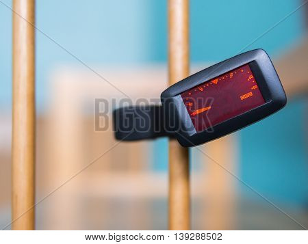 close up shot of a clip tuner for Guitar