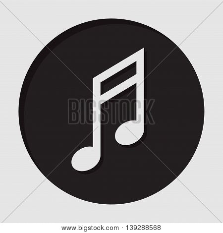 information icon - dark circle with white musical note and shadow