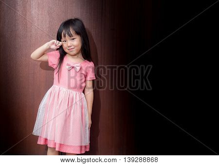 Portrait Of A Little Asian Kid Girl , Crying Action