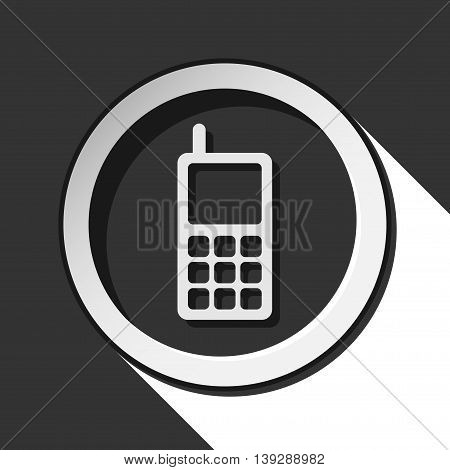 black icon - old mobile phone with antenna white stylized shadow