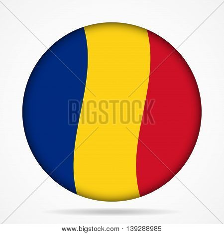 button with waving national flag of Romania and shadow