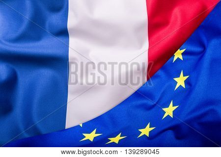 Flags of the France and the European Union. France Flag and EU Flag. World flag money concept.