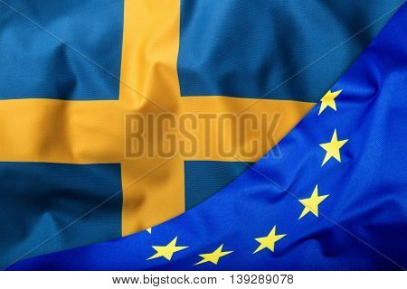 Flags of the Sweden and the European Union. Sweden Flag and EU Flag. World flag money concept.