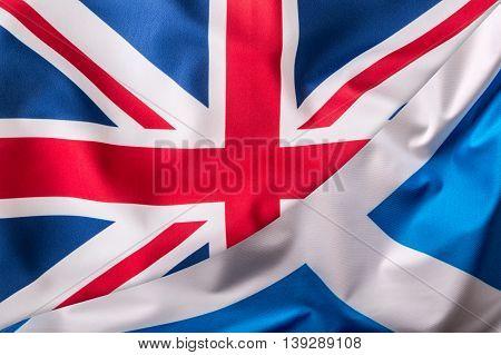 British and Scotland flag together. Eu Flags serie.