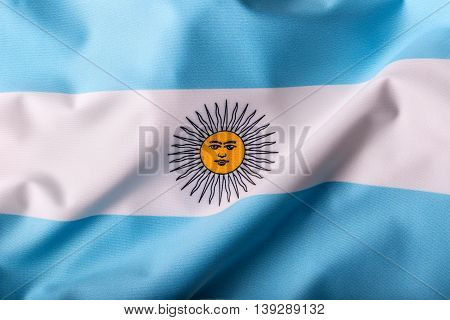 Argentina flag waving in the wind. World Flags serie.