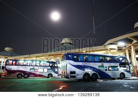 CHIANGMAI THAILAND -JULY 18 2016: Benz bus of Transport government company Double deck route Bangkok and Ban tha ton. Photo at Chiangmai bus station.