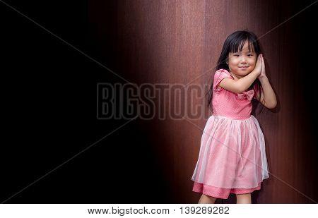 Portrait Of Asian Happy Little Girl , Sleep