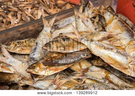 Close up of dry fish at the market