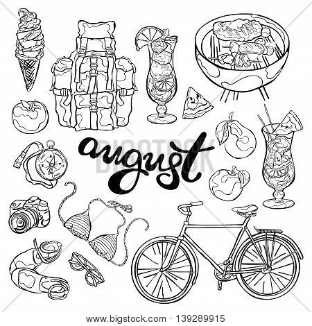 August. Summer Set: beachwear, bike, fruits and vegetables, cocktail, backpack and compass, camera and picnic. Isolated vector objects on white background. Picture for the calendar. Template.