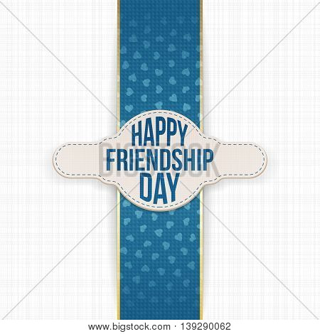 Happy Friendship Day greeting Label with Text. Vector Illustration