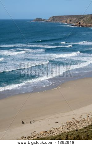 Vertical View Of The Beach At Sennen Cove, Cornwall