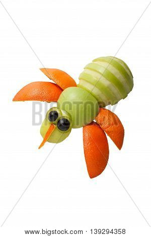 Funny bee made of apple and orange