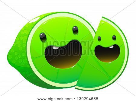 bright juicy tasty green lime cartoon two fun character