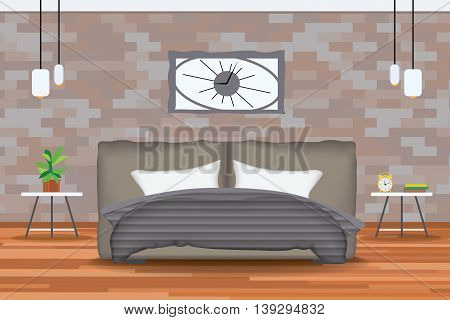 Loft Style Interior Design Vector Illustration.Bed in Front of Brick Wall with Side Tables, Chandeliers, Clocks, Plants.Cartton Bedroom with Parquet Floor.Bedroom Elevation.Bedding and Bedroom Furniture Set.