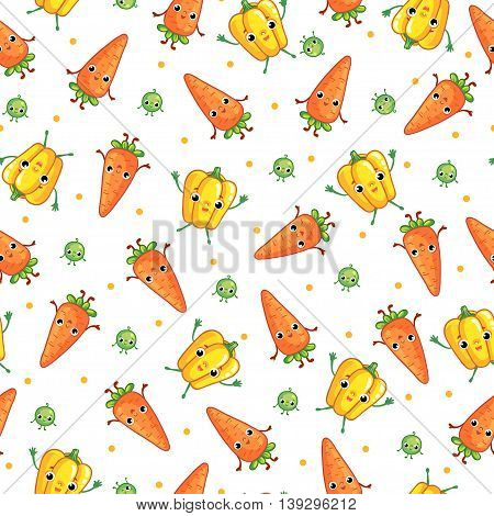 Vector seamless pattern with cute vegeables. Cartoon vegetable character. Vegetables carrot pepper peas